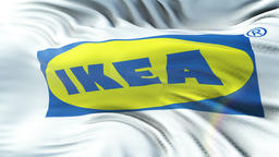 IKEA flag waving on sun. Seamless loop with highly detailed fabric texture. Loop Animation