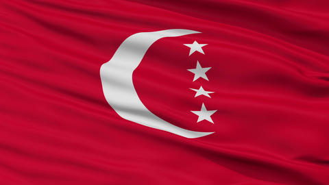 Closeup Anjouan city flag, Comoros Animation