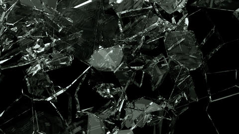 Glass shattered and broken in slow motion. Alpha matte.… Stock Video Footage