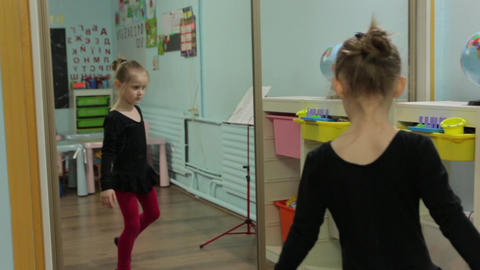 The Little Girl Ballerina Dance Mirror GIF