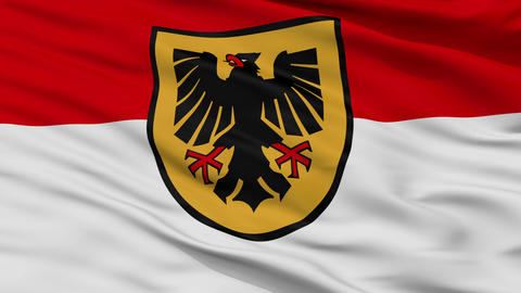 Closeup Dortmund city flag, Germany Animation