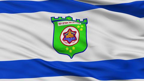 Closeup Tel Aviv city flag, Israel Animation