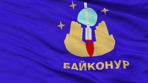 Closeup Baykonur city flag, Kazakhstan Animation