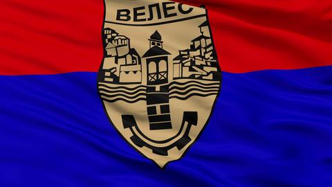 Closeup Veles city flag, Macedonia Animation