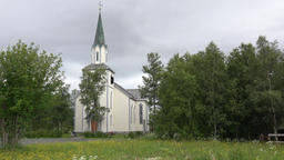 North Europe Norway Saltstraumen the wooden church in the village 영상물