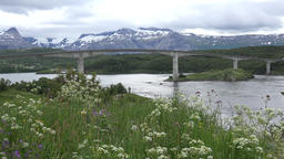 North Europe Norway Saltstraumen panoramic view of fjord landscape with bridge 영상물