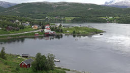 North Europe Norway Saltstraumen panoramic view seen from the fjord bridge Footage