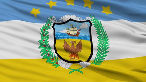 Closeup Provincia Colon city flag, Panama Animation