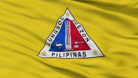 Closeup Quezon city flag, Philippines Animation