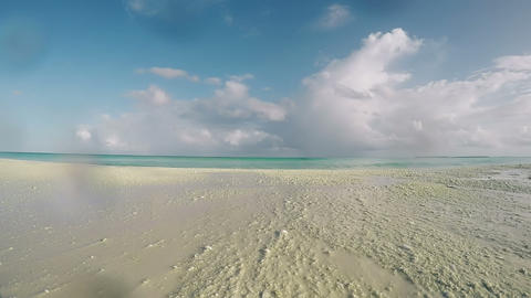 Beach, Sea, Sand, Wave, Blue Sky, Clouds at Tropical Island Of Maldives. Indian GIF
