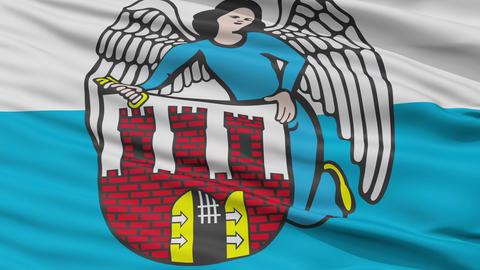 Closeup Torun city flag, Poland Animation