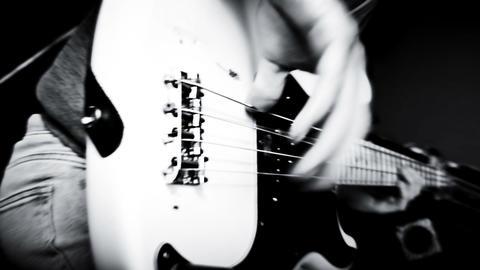 Bass Guitarist Playing Bass Guitar Close Up Archivo