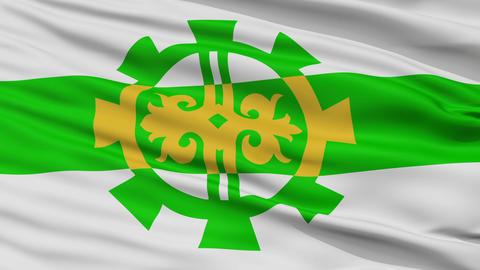 Closeup Argun city flag, Russia Animation
