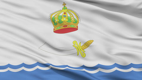 Closeup Astrakhan city flag, Russia Animation