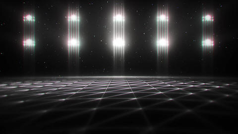 3D White Matrix Landscape in Cyberspace VJ Loop Background Animation