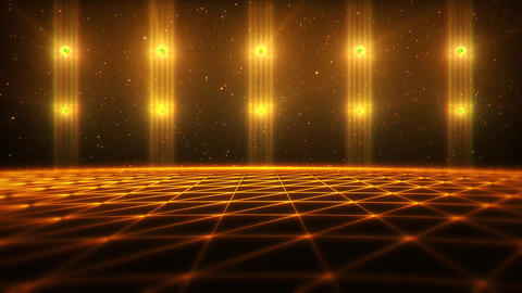 3D Orange Gold Matrix Landscape in Cyberspace VJ Loop Background Animation