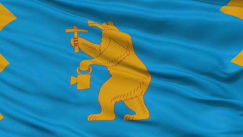 Closeup Mezhgorye city flag, Russia Animation