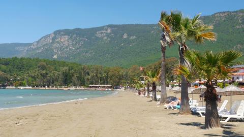 Akyaka, Turkey, beach, sunbed, Daily life Summer Travel Destination Footage