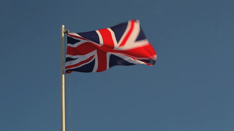 Great Britain flag in evening light Live Action