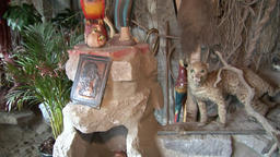 Stuffed animals in hut indigenous Guarani Indians and Shuar Footage