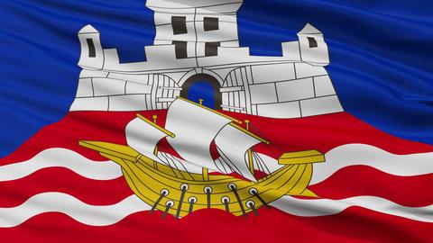 Closeup Belgrade city flag, Serbia Animation