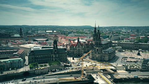 DRESDEN, GERMANY - MAY 2, 2018. Aerial view of the old town and the Elbe river Footage