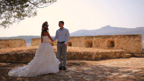 Wedding photosession of the newlyweds in Greece. Slow motion GIF