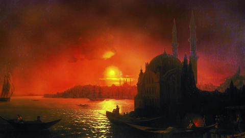 3D Animated Classical Painting HD - Ivan Aivazovsky - View of Constantinople Animation