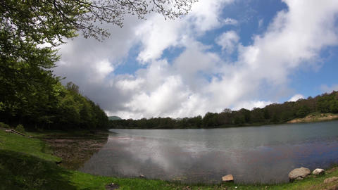 Nature, Forest Lake Landscape With Sky And Clouds, Time-Lapse Footage