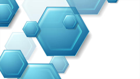 Abstract blue tech hexagons video animation Animation