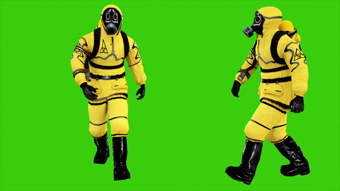 Man in protective hazmat walking on green screen background. Loopable Animation