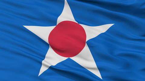 Closeup Asahikawa city flag, prefecture Hokkaido, Japan Animation