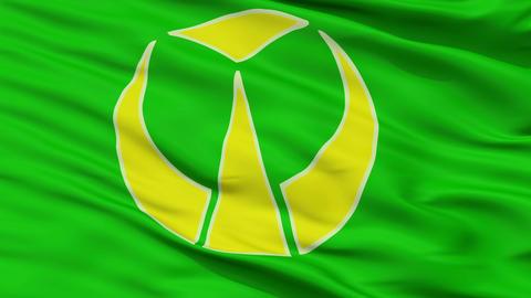 Closeup Buzen city flag, prefecture , Japan Animation
