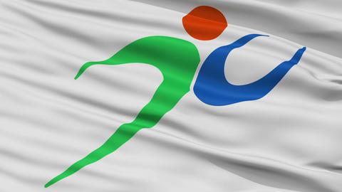 Closeup Fukutsu city flag, prefecture Fukuoka, Japan Animation