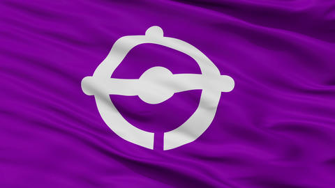 Closeup Funabashi city flag, prefecture Chiba, Japan Animation