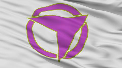 Closeup Furano city flag, prefecture Hokkaido, Japan Animation