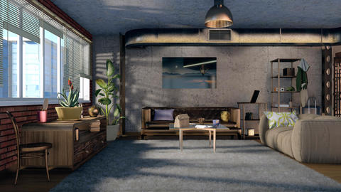 3D animation of loft living room interior design 영상물