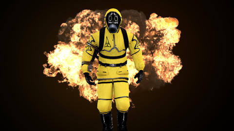 A man in a protective suit walks against the background of smoke and explosions. 애니메이션