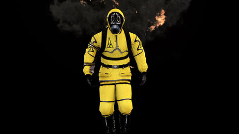 A man in a protective suit walks against the background…, Stock Animation