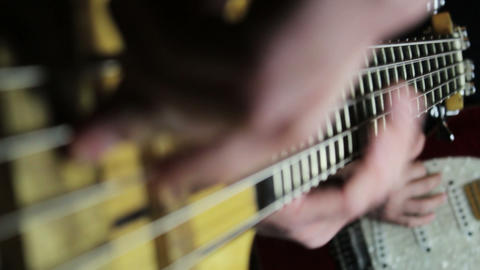 Guitarist and Bassist Rehearsing in the Music Studio Footage