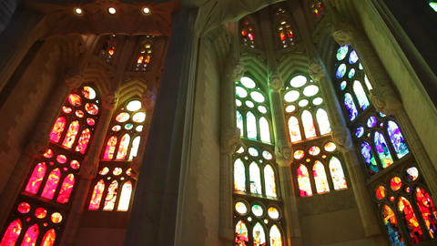 Stained glass at Sagrada Familia Temple Footage