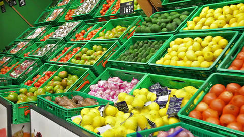 Fruits and vegetables in a supermarket GIF