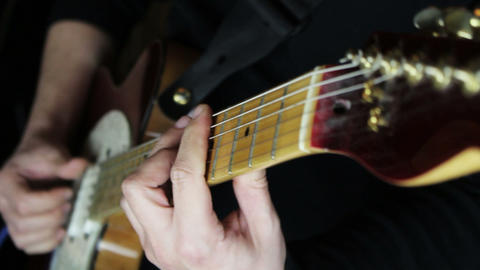 Guitarist Playing Guitar in the Music Studio Footage