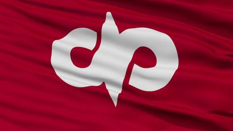 Closeup Nanyo city flag, prefecture Yamagata, Japan Animation