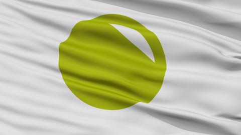 Closeup Noboribetsu city flag, prefecture Hokkaido, Japan Animation