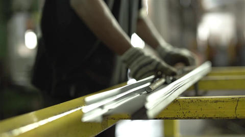 Construction Worker Making A Construction Reinforcement Product Footage