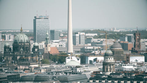 BERLIN, GERMANY - APRIL 30, 2018. Cityscape involving TV tower telephoto shot Footage