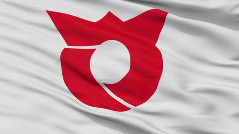 Closeup Sagae city flag, prefecture Yamagata, Japan Animation