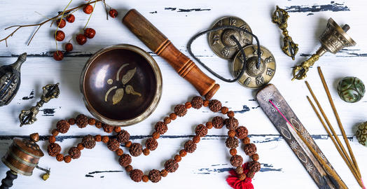 Tibetan religious objects for meditation Photo