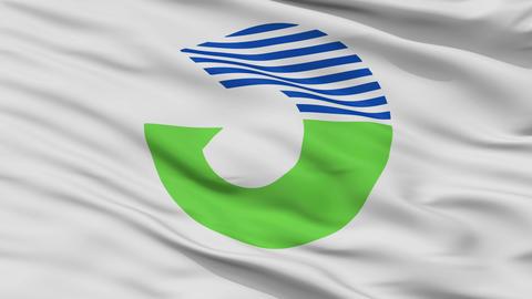 Closeup Tahara city flag, prefecture Aichi, Japan Animation